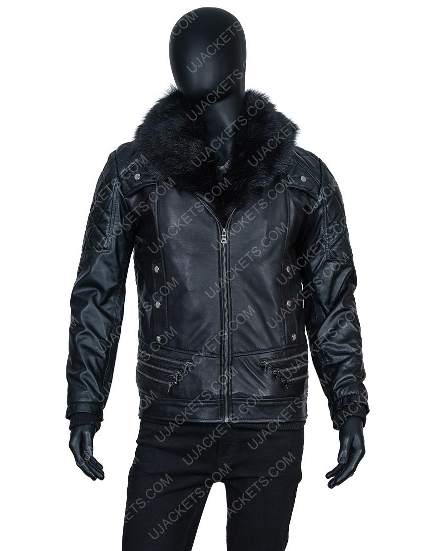 WWE Seth Rollins Fur Collar Black Jacket