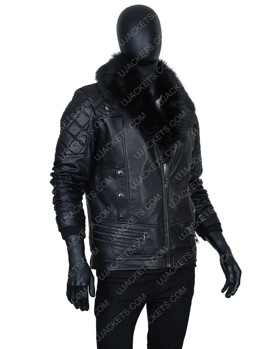 WWE Seth Rollins Fur Collar Black Leather Jacket