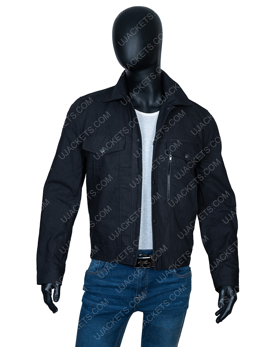 Aaron Paul Westworld S03 Ep7 Caleb Nichols Black Cotton Jacket