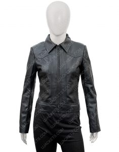 Ambyr Childers You Season 2 Candace Stone Black Leather Jacket