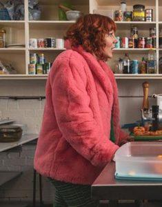 Sophie-Willan-Alma's-Not-Normal-Pink-Shearling-Jacket