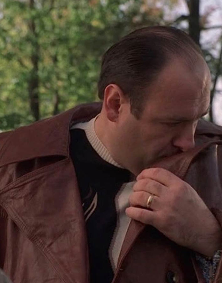 Tony-Sopranos-Brown-Leather-Trench-Coat