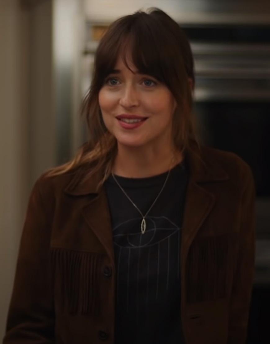 Dakota-Johnson-The-High-Note-Brown-Fringe-Jacket