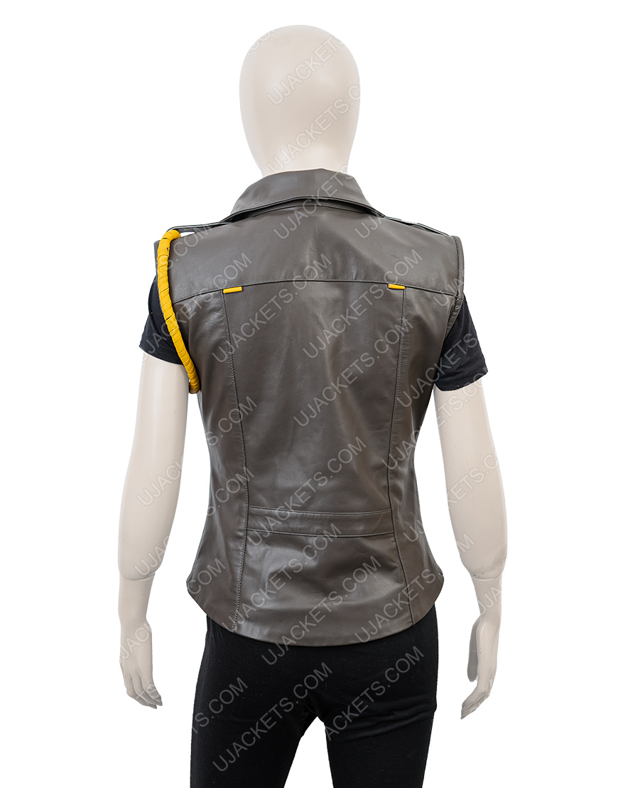Mortal Kombat X Soldier Sonya Blade Black Leather Vest