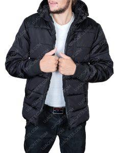 Black Puffer Parachute Jacket For Mens