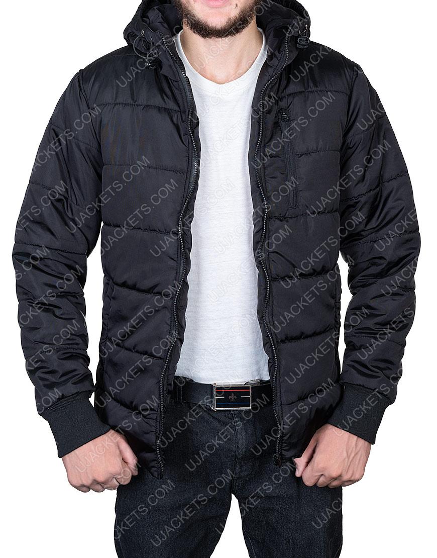 Black Puffer Parachute Jacket For Mens Wear