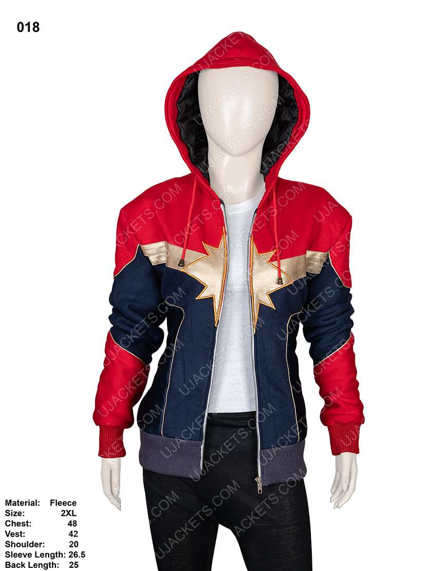 Clearance Sale 0018 Red & Blue Cotton Fleece Hooded Jacket (2XL)