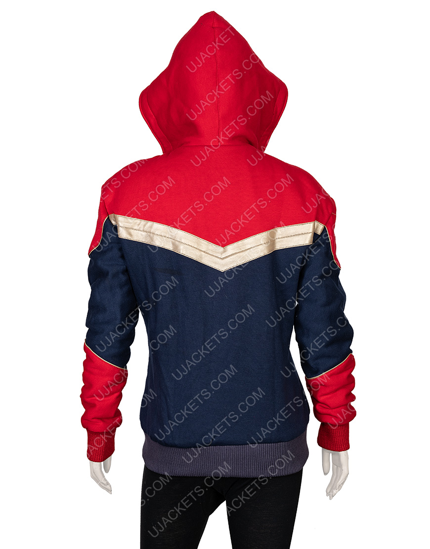 Clearance Sale 0018 Red & Blue Cotton Hooded Jacket (2XL)
