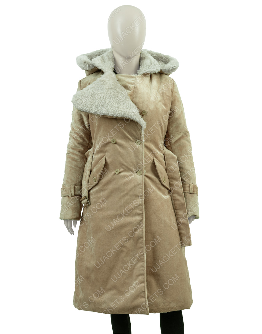 Clearance Sale 0019 SuedeCotton Fawn Long Hooded Coat (Medium)