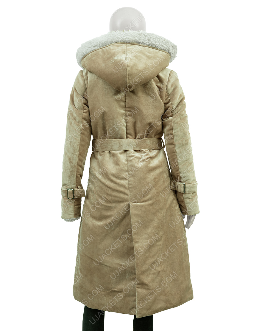 Clearance Sale 0019 SuedeCotton Fawn Long Hooded Coat