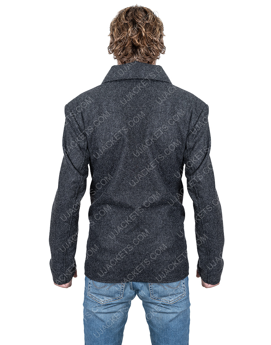 Ian Bohen Double-Breasted Ryan Yellowstone Wool Blend Peacoat