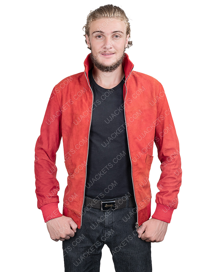 Jamie Foxx Project Power Just As It Is Red Leather Jacket With Back Patch