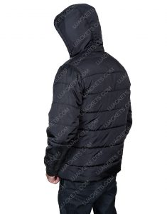 Mens Black Parachute Puffer Hooded Jacket