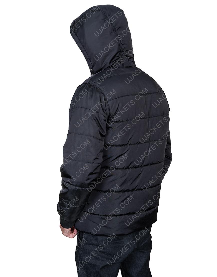 Mens Black Parachute Puffer Hooded Jacket