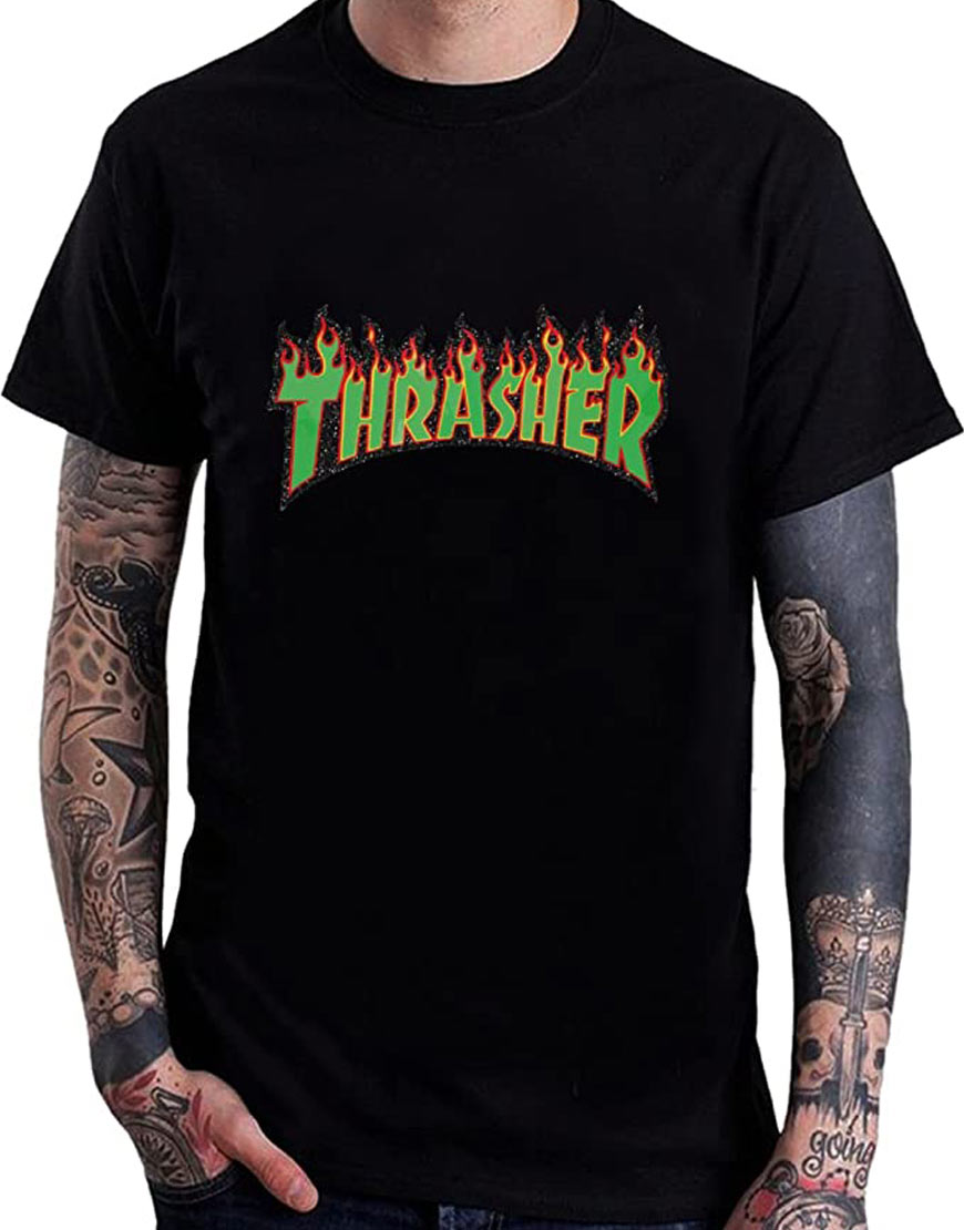 Men's-Green-Thrasher-Flame-Logo-Tee-Shirts-Black