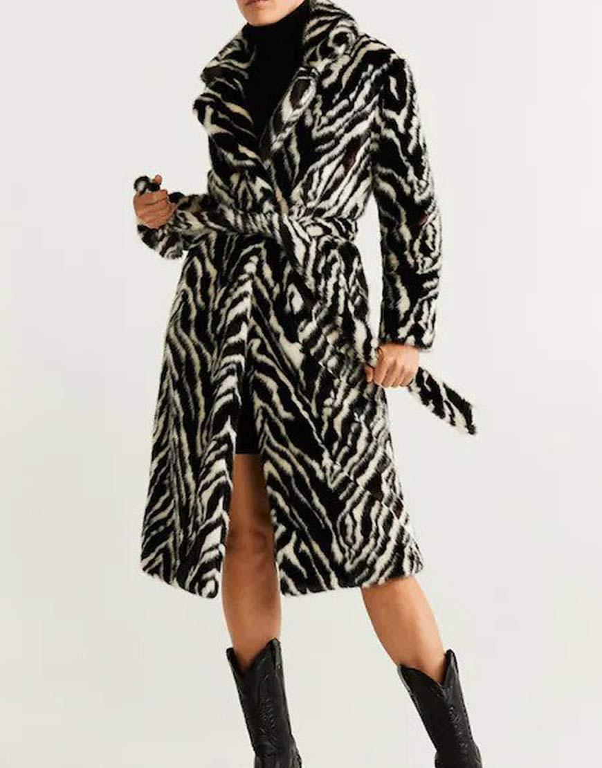 Selena-Gomez-Belted-faux-fur-coat