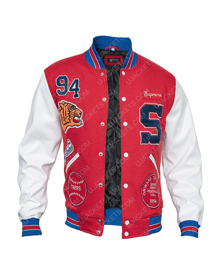 Supreme Tiger Logo Red Letterman Jacket
