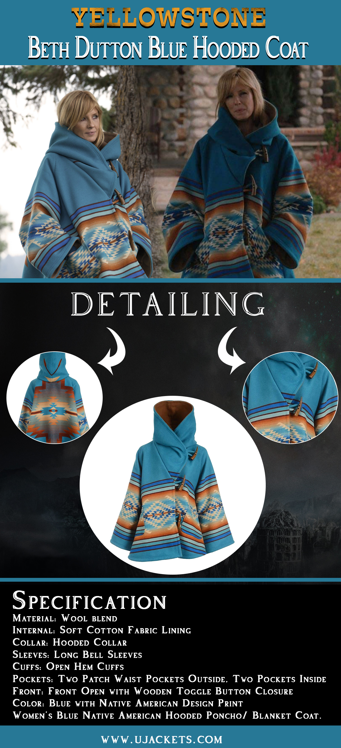 Yellowstone-Beth-Dutton-Blue-Hooded-Coat-info