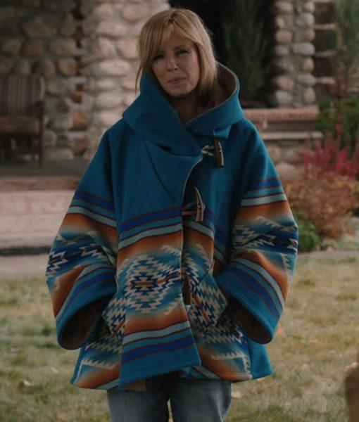Yellowstone Blue Wool Blend Beth Dutton Blanket Coat