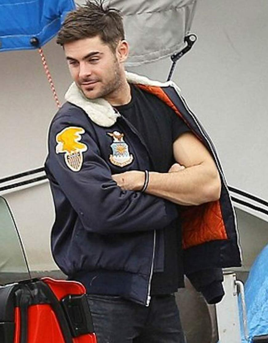 Zac-Efron-Bomber-Jacket-With-Patches