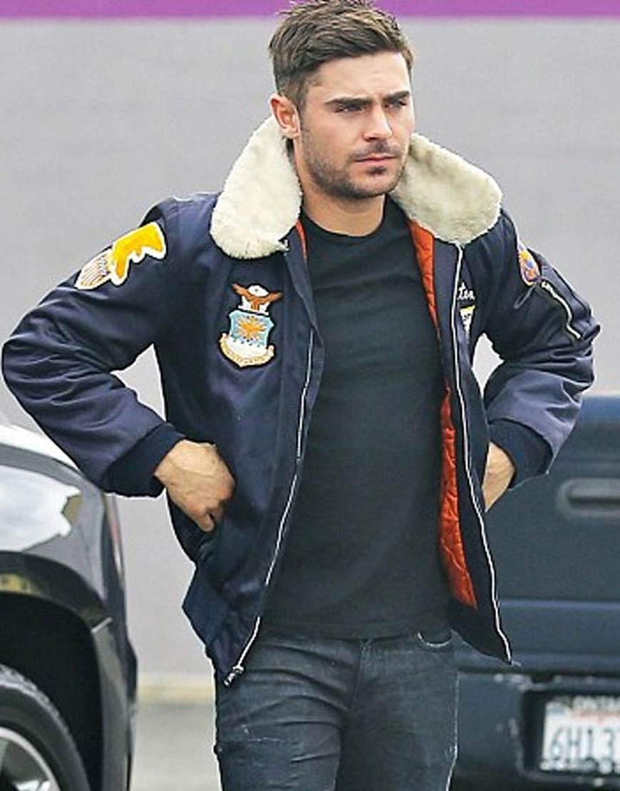Zac-Efron-Navy-Blue-Bomber-Jacket