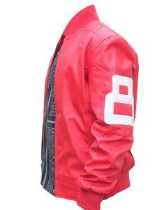 8-Ball-Logo-Pink-Leather-Bomber-Jacket