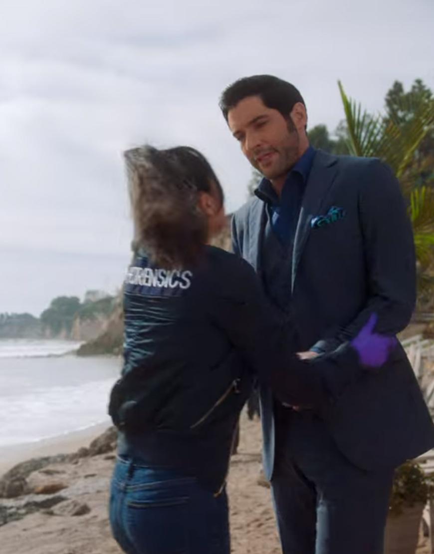 Aimee Garcia Black Cotton TV Series Lucifer S02 Ella Lopez Bomber Jacket