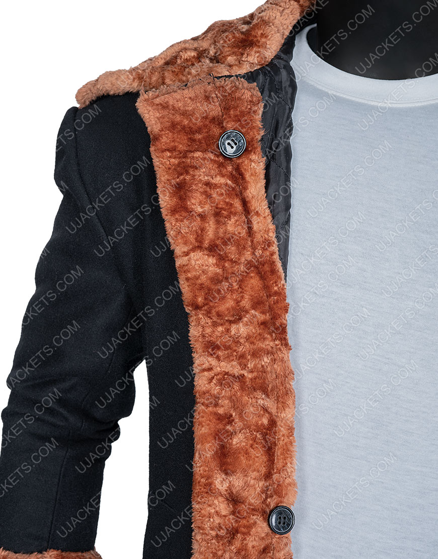 Anthony McCoy Black Suede Shearling Yahya Abdul-Mateen II Candyman Coat