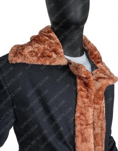 Black Suede Leather Shearling Yahya Abdul-Mateen II Candyman Coat