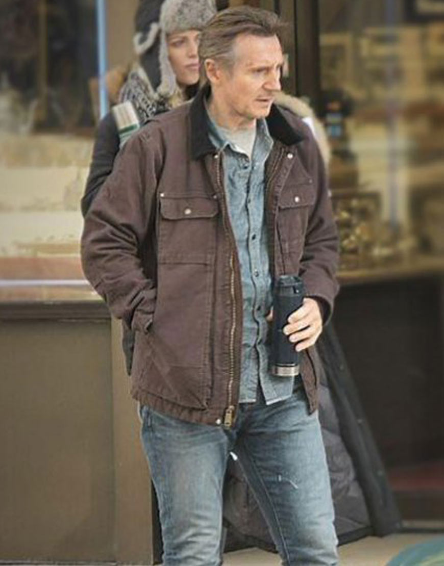 Honest-Thief-Liam-Neeson-Brown-Cotton-Jacket