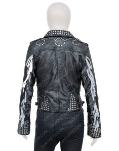 Maggie Civantos Vis a Vis El Oasis Fringe Macarena Ferreiro Leather Jacket