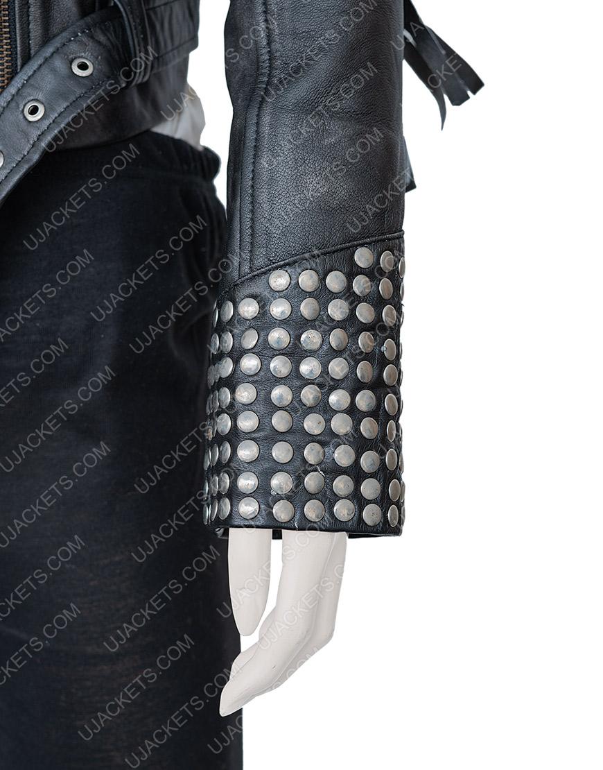 Maggie Civantos Vis a Vis El Oasis Fringe Style Macarena Leather Jacket