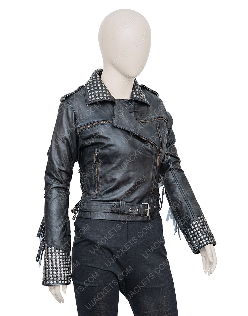 Maggie Civantos Vis a Vis El Oasis Style Macarena Ferreiro Leather Jacket