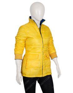 Billie Eilish Singer Yellow Puffer Jacket