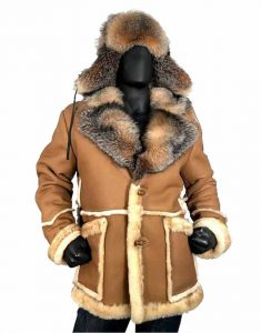 Calvin-Sheepskin-Toggled-Coat-With-Crystal-Fox-Collar-