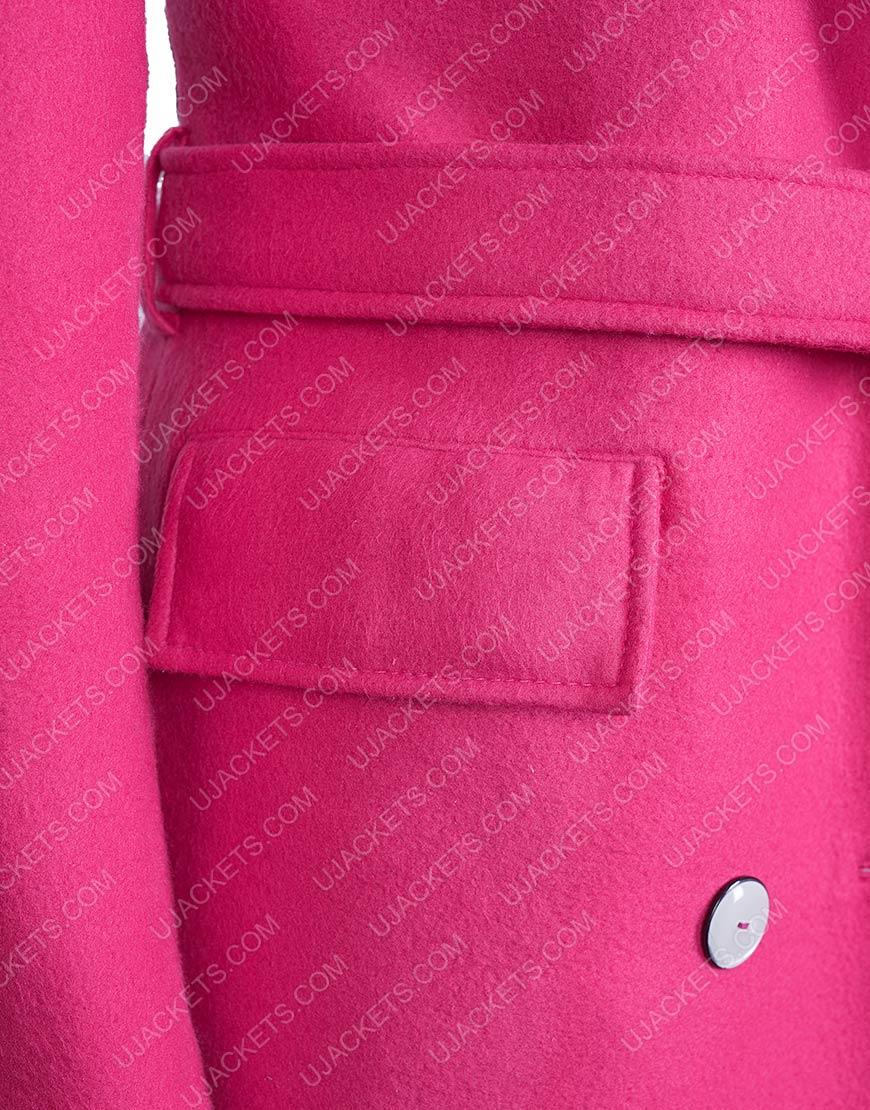 Emily In Paris Emily Pink Woolen Belted Coat