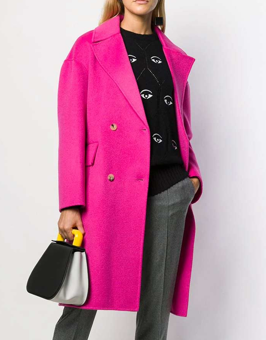 Emily In Paris Lily Collins Emily Pink Woolen Belted Coat
