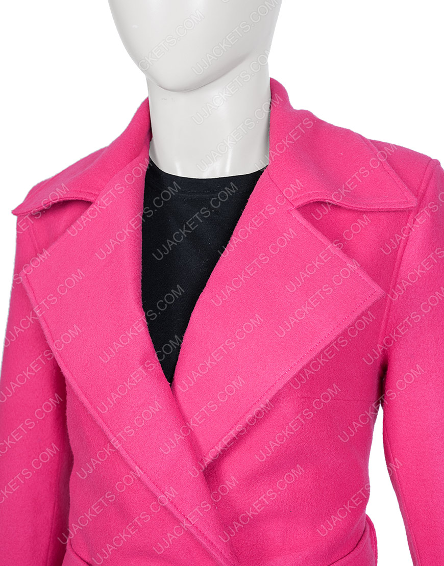 Emily In Paris Lily Collins Pink Belted Coat