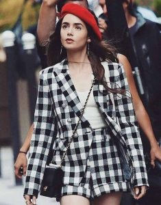 Emily-in-Paris-Lily-Collins-Ckeckered-Blazer