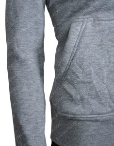 Grey Embroidered Just Love You Hoodie Side