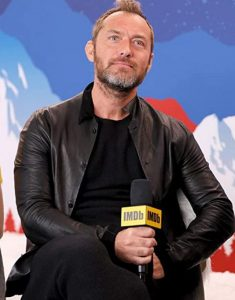 Jude-Law-Acura-Festival-Village-Black-Leather-Jacket