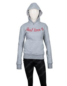 Just Love You Embroidered Grey Hoodie