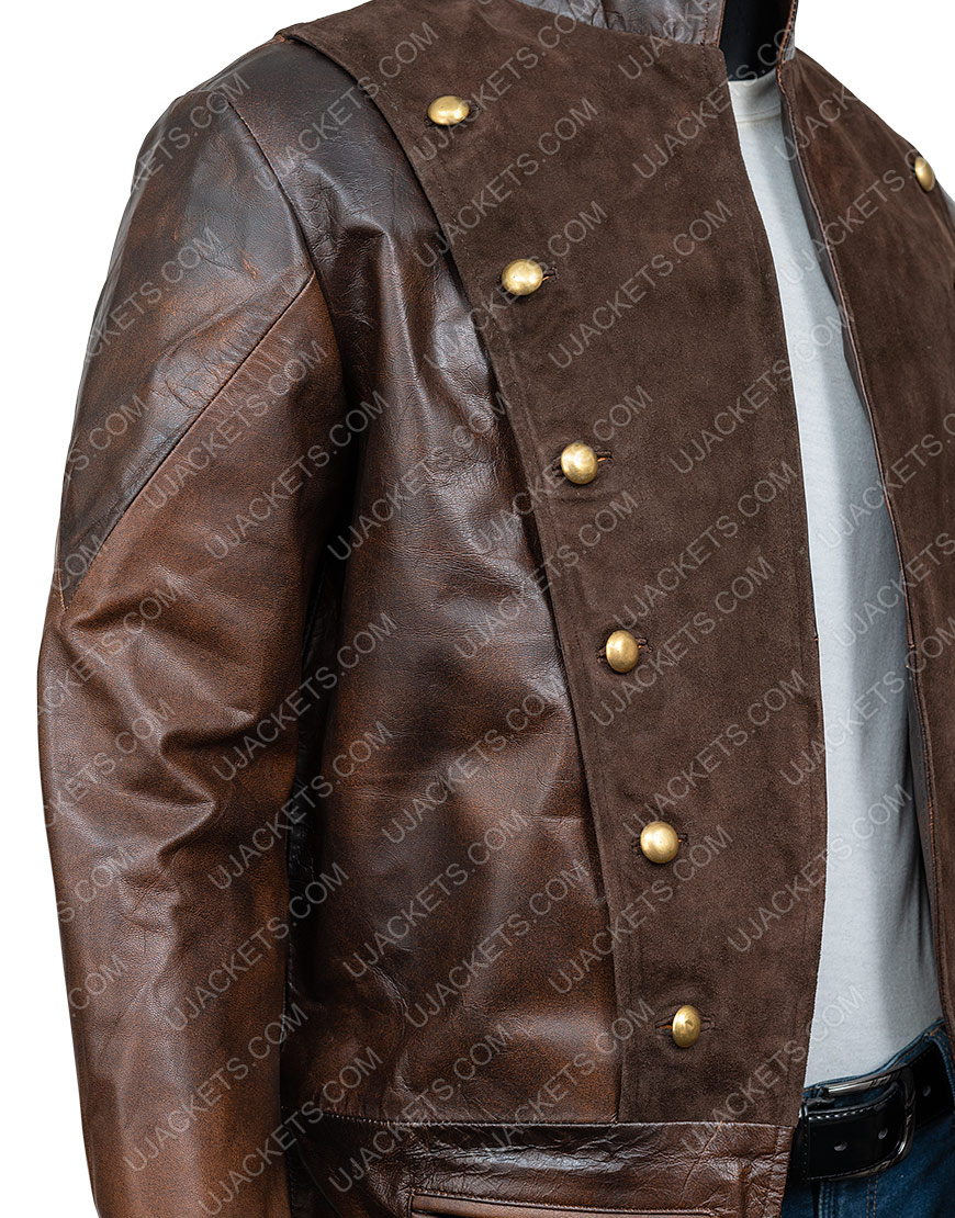 La Revolution Albert Guillotin Brown Leather Coat