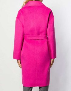 Lily Collins Emily Pink Woolen Belted Coat