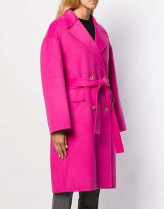 Lily Collins Emily Pink Woolen Pink Coat