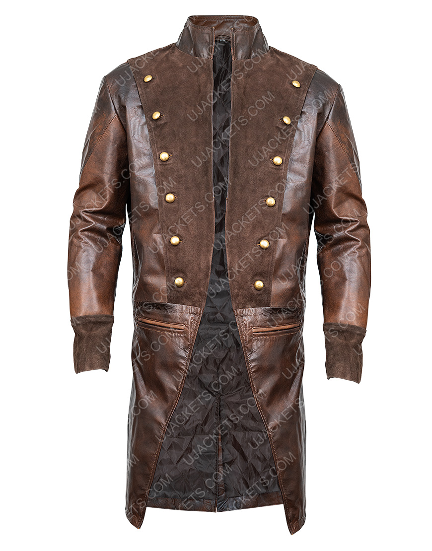 Lionel Erdogan Brown Leather La Revolution Albert Guillotin Coat