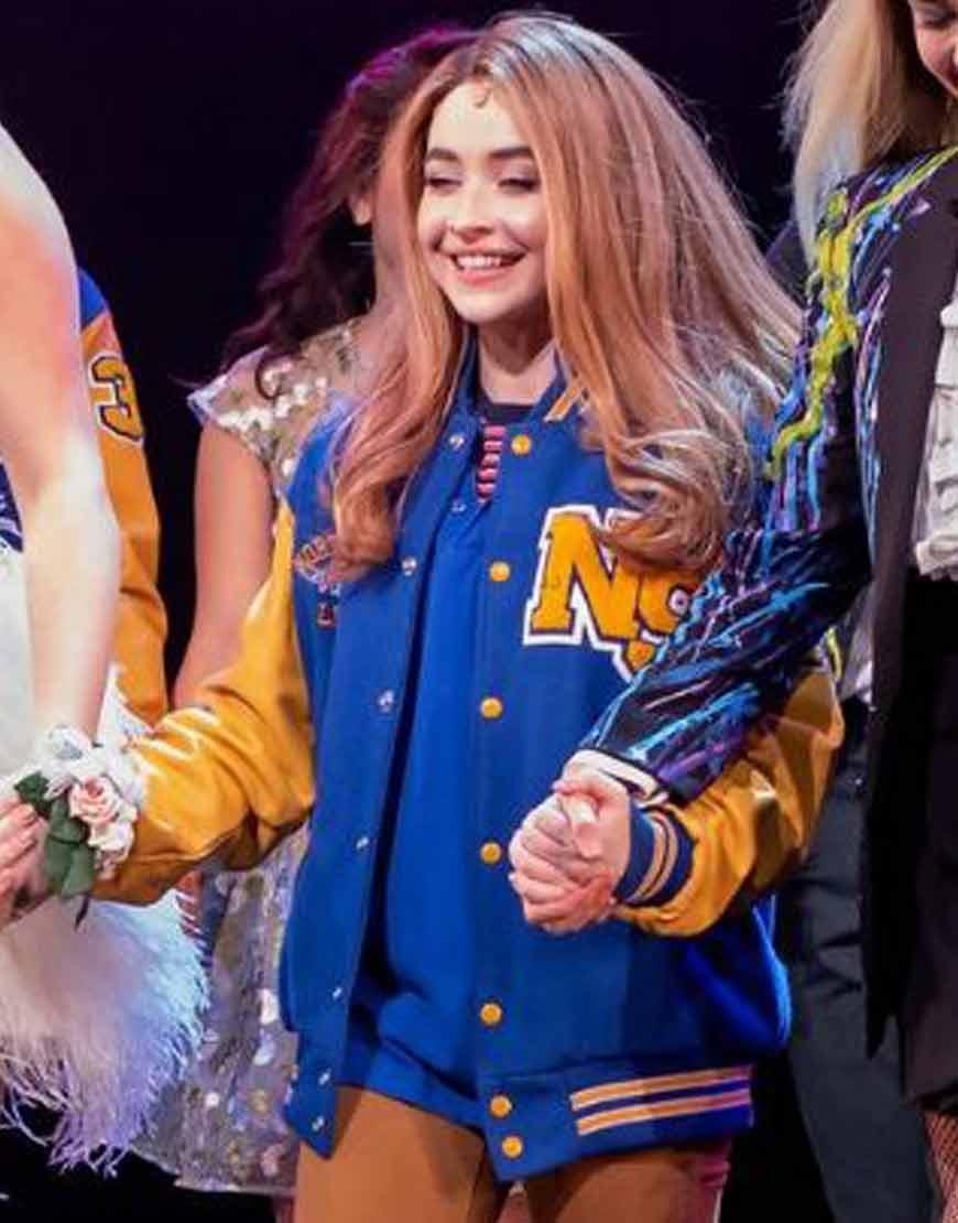 Mean-Girls-on-Broadway-Sabrina-Carpenter-Blue-Jacket