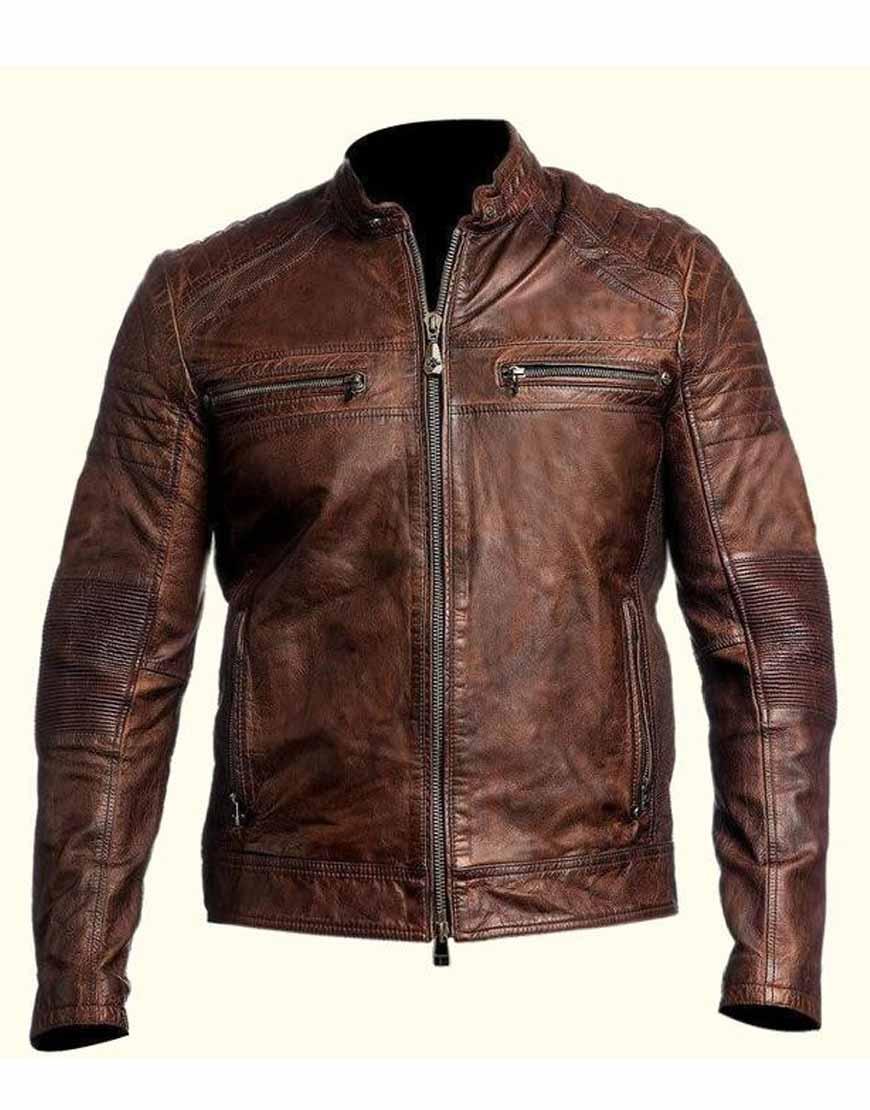 Mens-Biker-Vintage-Motorcycle-Distressed-Brown-Cafe-Racer-Jacket