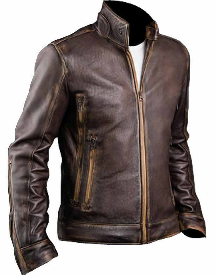 Mens-Cafe-Racer-Biker-Brown-Distressed-Leather-Jacket