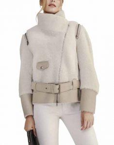 White-Shearling-Short-Biker-Jacket-With-Leather-Belt